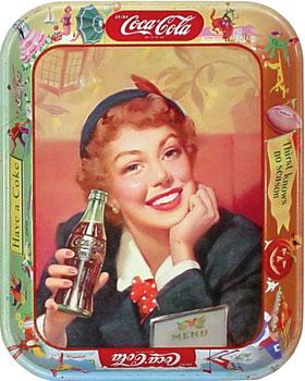 1950s menu girl tray
