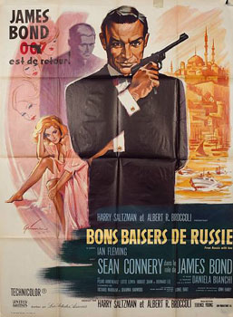 French movie poster for From Russia With Love (Bons baiser de Russie), United Artists, 1963.