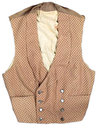 "A waistcoat worn by Frank Sinatra in the film Can-Can,  20th Century Fox, 1960. Stamped ""Western Costume Co. Hollywood, California"" and labeled ""Western Costume Co. Hollywood No. 2450-1, Name Frank Sinatra, Chest 37, Sleeve #2."""