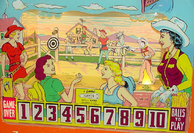1962 Gottlieb Flipper Cowboy pinball. Roy Parker playfield and backglass pinball artwork. Detail of back glass.