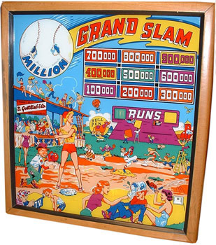 1953 Gottlieb Grand Slam pinball. Detail of back glass.