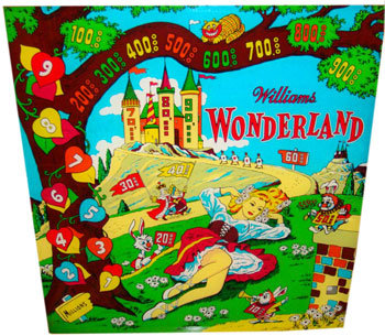 1955 Williams Wonderland pinball. Detail of back glass.
