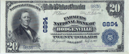 1902 series Hodgenville, KY $20 note, Abraham Lincolns birthplace