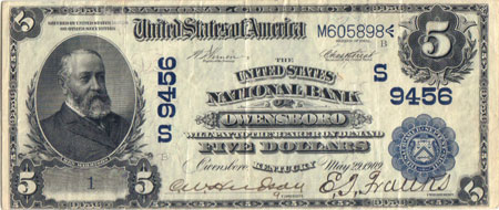 1902 series Owensboro $5 note, Serial #1 (Bottom left)