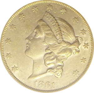 1861- S Paquet Reverse(front). 1861-S Gold $20 Double Eagle Type 1 No Motto - Paquet Reverse from The Arlington Collection of Type 1 Double Eagles