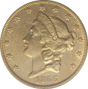 1866- S No Motto(front). 1866-S Gold $20 Double Eagle Type 1 No Motto from The Arlington Collection of Type 1 Double Eagles