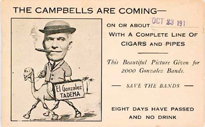 A 1911 Campbell-Lakin Segar Co. advance card. Campell-Lakin Segar Co. was a Portland Oregon wholesaler whose brands included Tadema, El gonzales, Havana Taste, San Lucia, Prime Minister, Refund and Passport