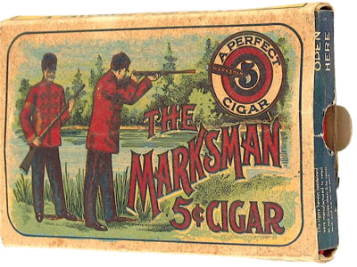 1920s Marksman 5 cent cigar. They were a popular brand since the 1870s.