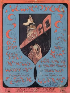 This battered and beloved copy of a Fillmore West/Winterland postcard from 1970-1971 has been signed by David Singer in the lower-right.