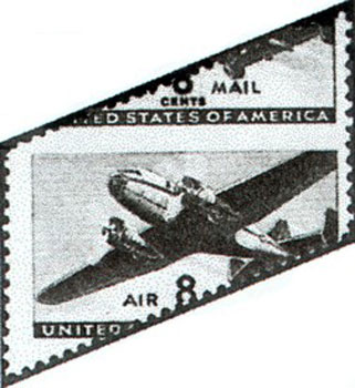 Type 32: This is an example of diagonal misperforations on the 1941 8¢ airmail (Scott C26).