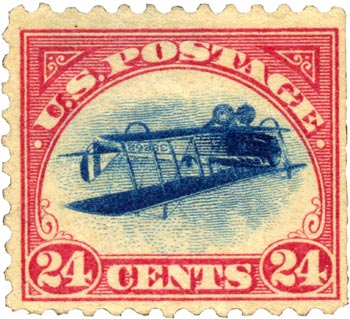 The 24-cent Curtiss Jenny invert from 1918 is perhaps the most famous and prized of all U.S. postage stamps.