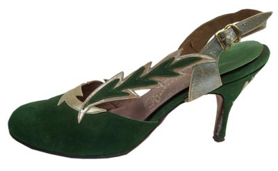This green suede and silver kid shoe from 1955 was produced by Gainsborough, a Florida manufacturer.