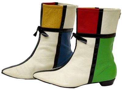 These vinyl go-go boots from 1966 sport a Mondrian-like design.