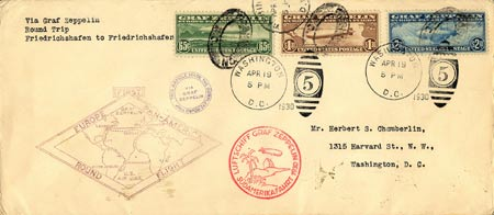 This envelope is a Zeppelin-stamp collector's bonanza since it features three of the four U.S. Zeppelin stamps printed, all from 1930.