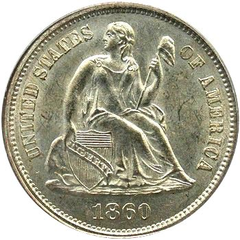 1860 Doubled Die Obverse, Medium Level Date, Bases of 1 Thin, Open 6