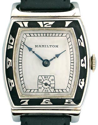 This Hamilton Coronado from 1937 is an Art Deco masterpiece. It features 14K white gold, black enamel, and blued steel hands.