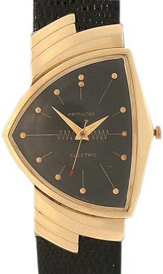 "Interest in Hamilton Venturas (this 14K gold example is from 1957) surged after Will Smith wore one in ""Men in Black."""