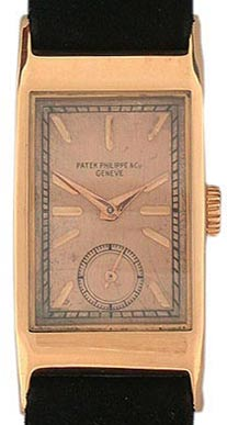 Many Patek Philippe wristwatches are remarkable for their understated beauty—this 18K red-gold dress watch is from 1941