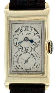 Doctor's watches such as this 14K Gruen from 1930 were so called because of their large second hand, which made it easy for a physician to take a patient's pulse.