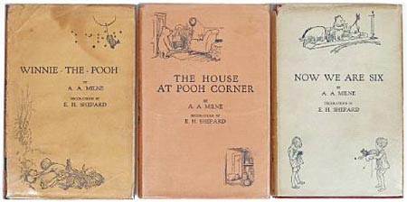 "Collectors love ""Winnie-the-Pooh"" first editions for both A. A. Milne's words and E. H. Shepard's illustrations. These copies are from (left to right) 1926, 1928, and 1927."