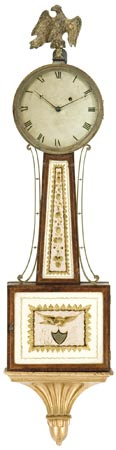 An important banjo clock by Simon Willard, Roxbury, Mass, circa 1807.