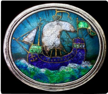 "Arts & Crafts ""Galleon"" brooch by unknown artist. This was a popular motif in Arts & Crafts jewelry and decorative arts. Photo courtesy Tadema Gallery, London."