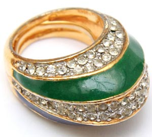 Kenneth Jay Lane enamel-and-rhinestone rings like this one were produced from the 1960s to '70s.