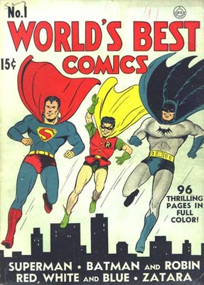 "In the spring of 1941, ""World's Best Comics"" #1 featured Superman, Johnny Thunder, Crimson Avenger, and Batman and Robin."