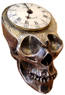 A skull and a watch both represent the passage of time. This example in verge silver is from around 1780.
