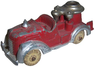 In the early 1900s, Hubley made cast-iron model fire trucks with real rubber tires.