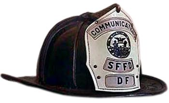 Leather Cairns and Brother, Inc. fire helmets are worn by many departments, including San Francisco's.
