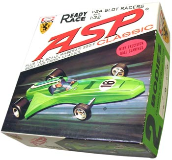 Classic's ready-to-race Asp was a 1/24 scale car, but it was sold with chassis parts and a body to build a 1/32 scale Maserati 250F.