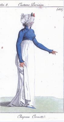 Fashion plates can be used to date clothing as well as hats. This French example is from around 1800.