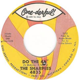 The Twisted Wheel would punch a small hole in its 45s, as seen in this single by The Sharpees.
