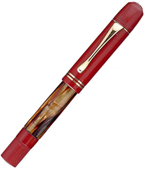 A Pelikan 100 tortoise shell with red hard rubber cap and mechanism.