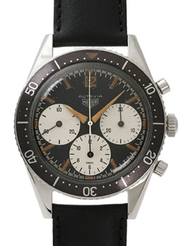 early (first) version of the Autavia chronograph, circa 1963. The first Heuer with a rotating bezel, and the early version has the large registers
