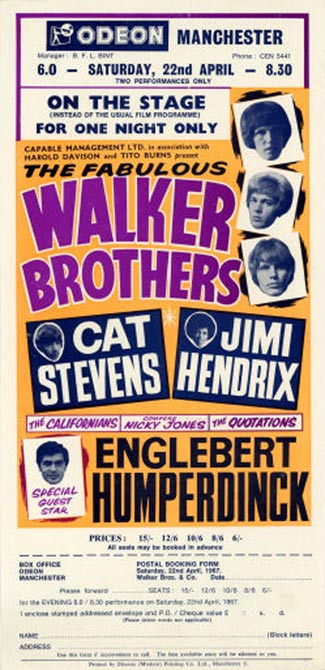 In April 1967, two months before Jimi Hendrix became a star at the Monterey Pop Festival, he appeared third bill to the Walker Brothers and Cat Stevens at the Odeon in Manchester, England.