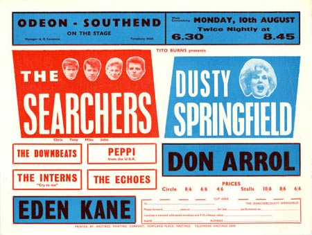 Early 1960s British concert handbills, such as this one advertising a show with the Searchers and Dusty Springfield, included a coupon that you'd have to mail in to get a ticket.