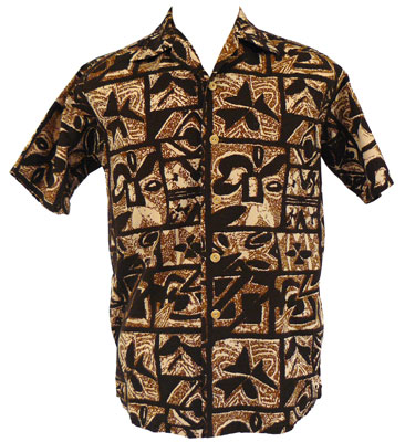 A tapa design shirt from the 1950s to 1960s on cotton broadcloth with bamboo buttons. From the CTAHR Historic Costume Collection, University of Hawaii.