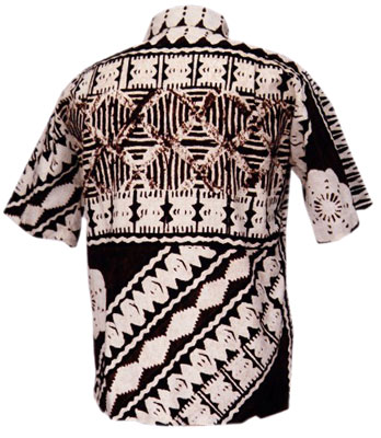 This Polynesian tapa, possibly of Samoan design, is from the 1950s on cotton barkcloth. From the CTAHR Historic Costume Collection, University of Hawaii.