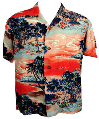 The kabe crepe used in this 1950s aloha shirt was made in Japan and intended for a little-girl's kimono. From the CTAHR Historic Costume Collection, University of Hawaii.