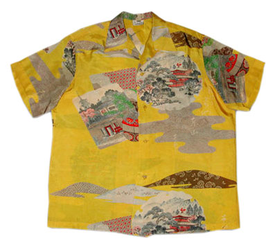 This silk shirt from the 1950s features images you might find on Japanese postcards. Photo: Camille Shaheen Tunberg.