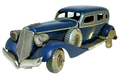 A noteworthy pre-war Japanese tinplate toy maker was CK, or Kuramochi Co., which made models of American cars such as Graham-Paige (seen here), Packard, Buick, Plymouth, and Chrysler.