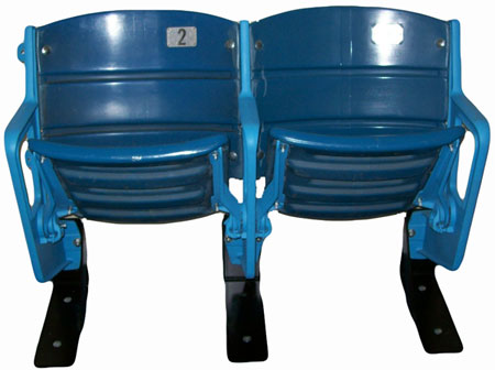 This pair of seats from the old Yankee Stadium resides in Bloomer's office at the Hastings Police Station.