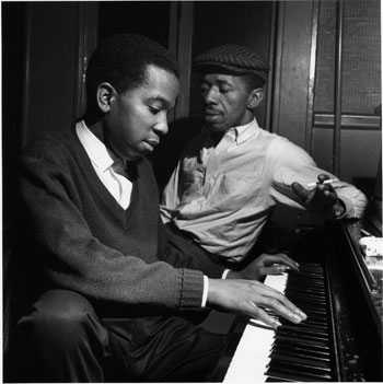 "Sonny Clark (left) and Philly Joe Jones, both of whom contributed to dozens of classic Blue Note albums at a rehearsal in New York City for Clark's ""Cool Struttin'"" album, January 1958."