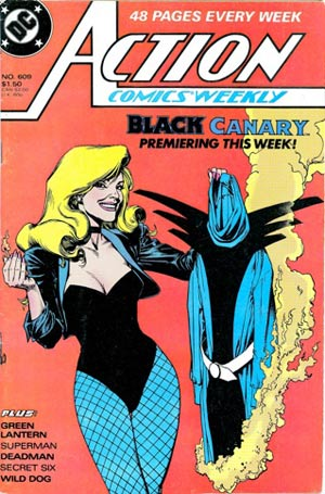 "In #609 of ""Action Comics Weekly,"" Dinah Lance burns her Black Canary costume."