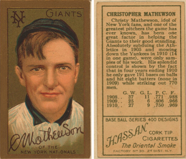 Christy Mathewson was one of the first five players inducted into the Hall of Fame.