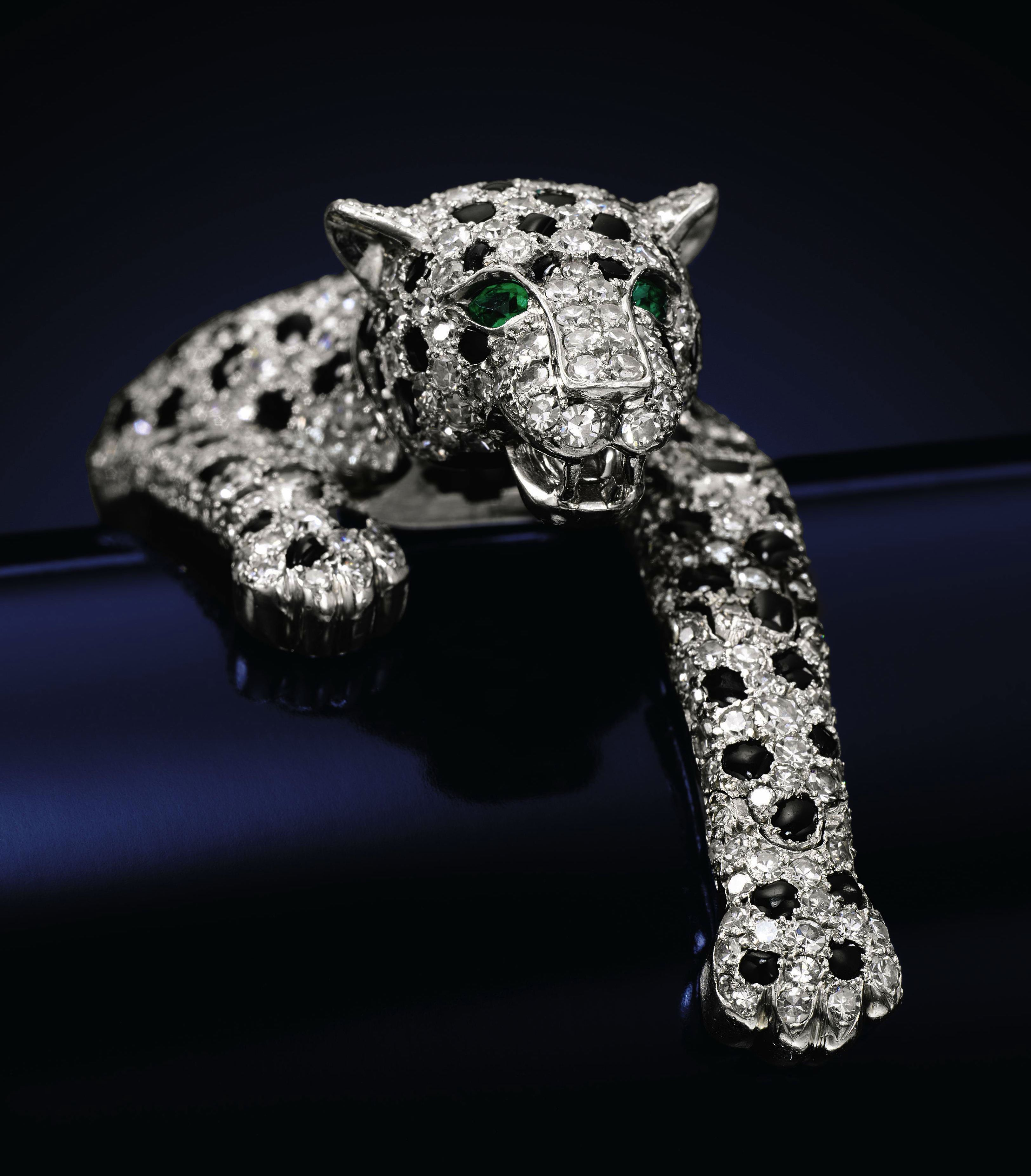 "A masterpiece of the duchess's collection is this onyx-and-diamond panther bracelet, 1952, part of Cartier's ""great cat"" menagerie."