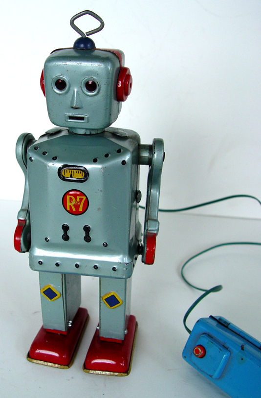 Flashy Jim, which dates from about 1955, walked via a wired remote. His eyes and mouth lit up, too.