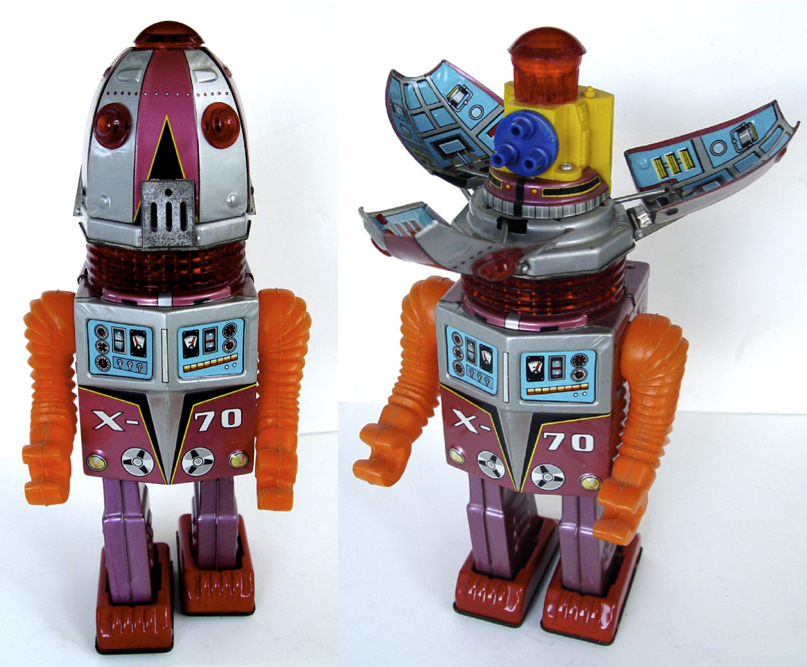 "The X-70 robot is also known as ""Tulip Head"" because his head (left) would open up like a flower (right)."